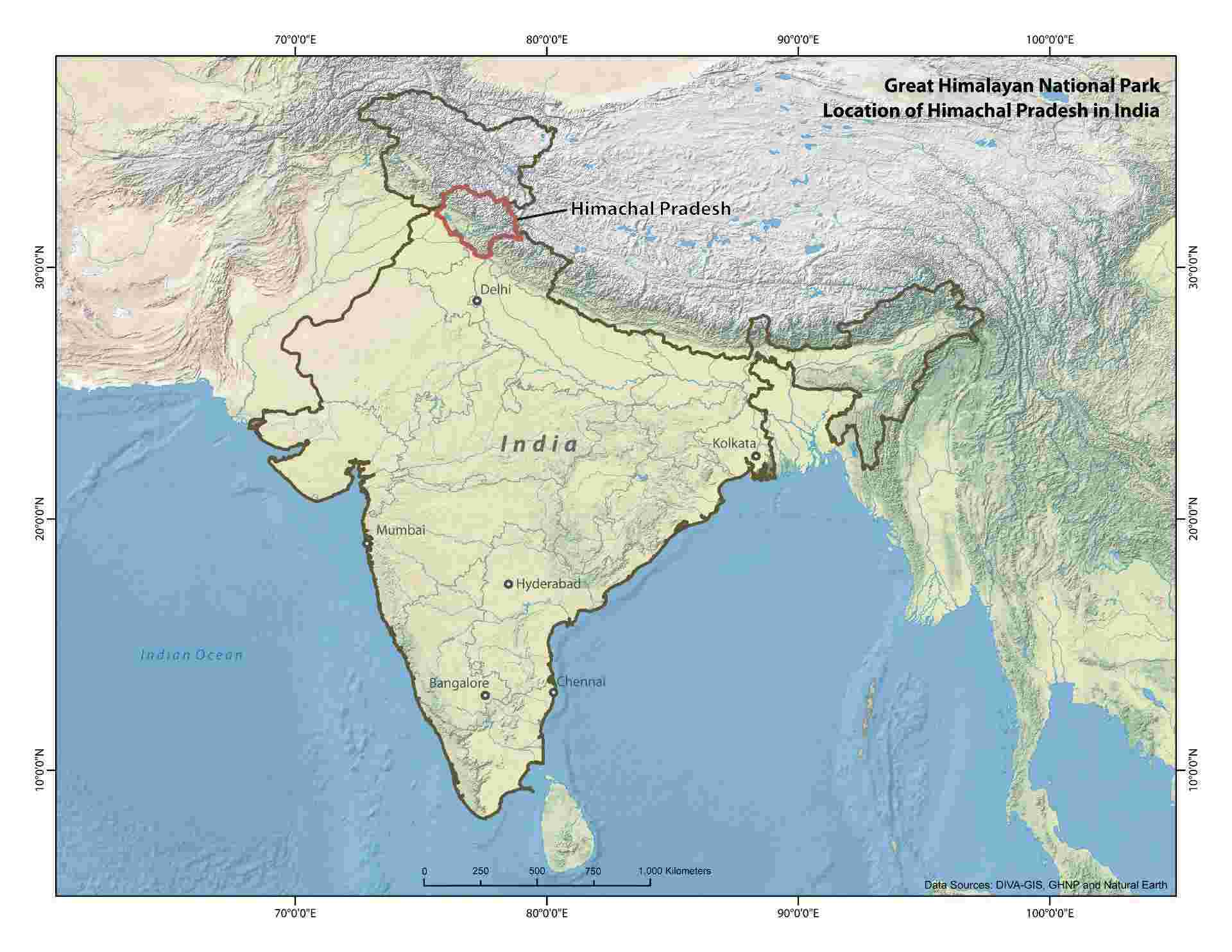 Maps Great Himalayan National Park - India map with latitude and longitude lines