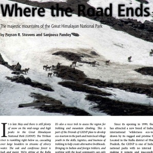 Where the Road ends published in Sanctuary Asia Oct 2012