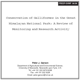 Research Galliform Conservation in GHNP by Garson