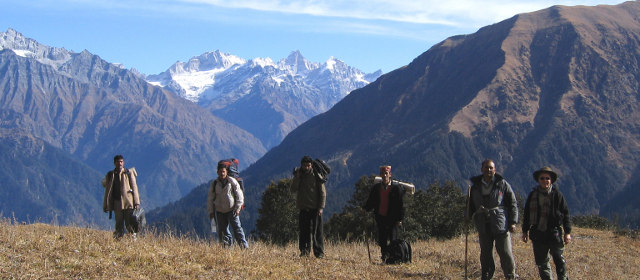 Trekkers at Dhel Thatch