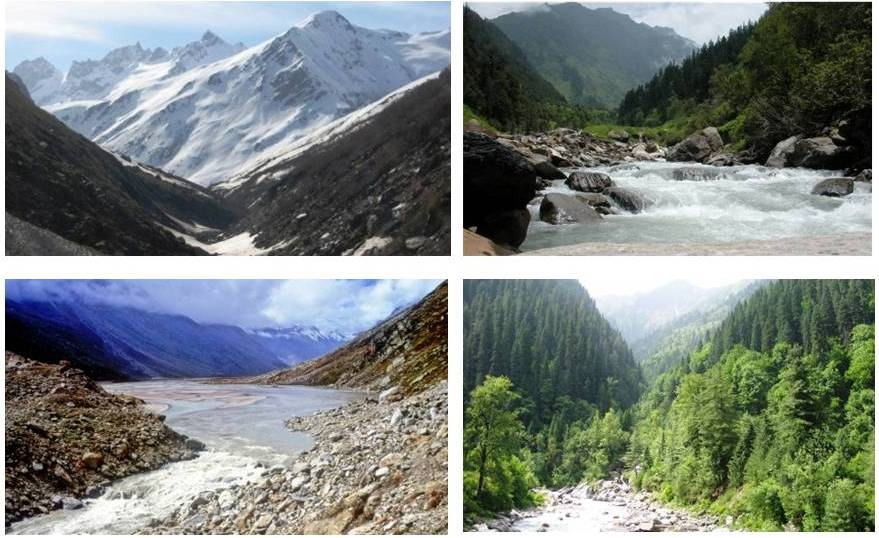 Top left: Tirthan Valley; Top right: JiwaNal Valley; Bottom left: Parvati Valley; Bottom left: Sainj Valley