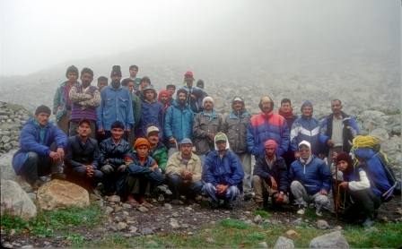The full trekking party at the base camp.