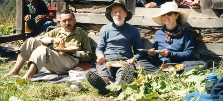 Dr Anthony J. Gaston (middle) , Anne Marie (right) and Sanjeeva Pandey (left) in Nada Meadow, GHNP. Dr Gaston led the team of international biologists, and Indian scientists & officials which selected the present site of the Great Himalayan National Park in 1980.