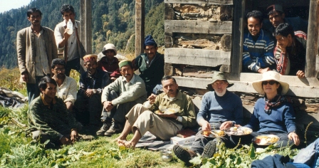 Tony Gaston, Anne-Marie and Sanjeeva Pandey with porters and cooks during one of the treks in GHNPCA (Nada Meadow 3300m alt in Tirthan Valley).