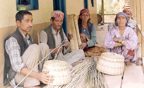Basket weavers are prominent artisans in a village (Ropa village, Tirthan Valley, GHNP).