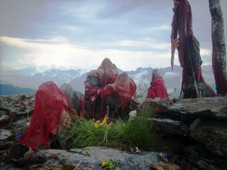 The deity of Kali is worshiped on the top of Dhel ridge.