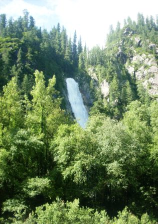 The native species of GHNP are more effective in Carbon sequestration. (60m waterfall on Bherad stream in Sainj Valley).