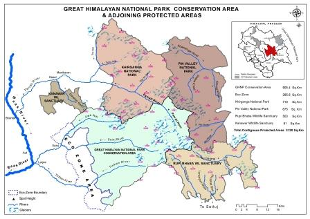 The Great Himalayan National Park Conservation Area along with Pin Valley NP, Khirganga NP, Rupi Bhaba WL Sanctuary and Kanawar WLS is the biggest area available for biodiversity conservation (about 2,900 sq km) in the Western Himalayas.