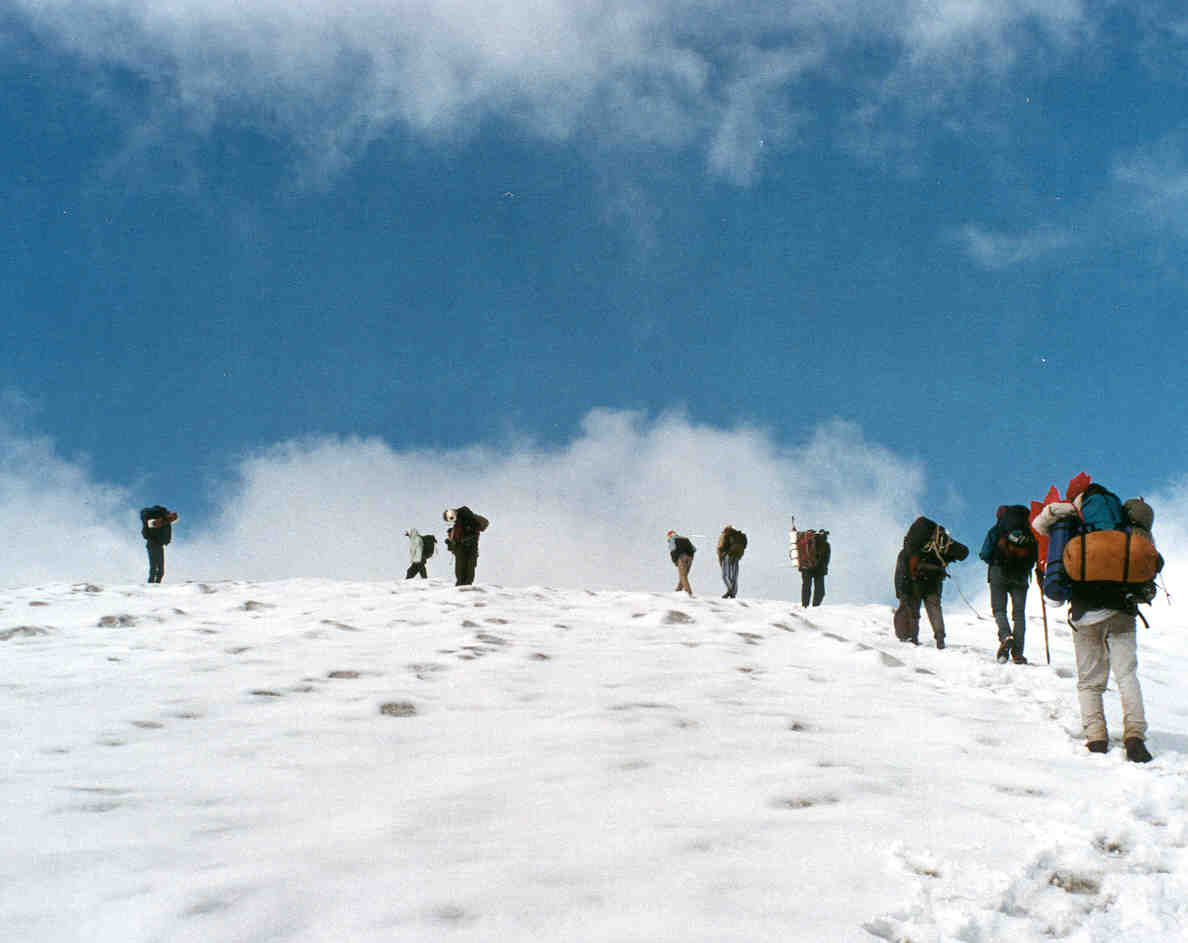 The trekking party on move towards the Pin Parvati Pass.