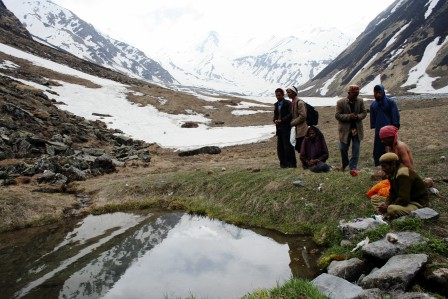 Water sources in high altitude areas are revered and have a strong pull for the villagers (Hans Kund at the source of Tirthan River).