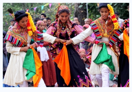 Nati is the local dance form which is performed during celebrations (here wildlife week is being celebrated in Sai Ropa, GHNP).