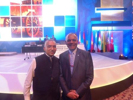 Sanjeeva Pandey (Friend of GHNP) with Director, World Heritage Committee, UNESCO in Doha on 23rd June 2014, immediately after the inscription of GHNPCA as a WHS.