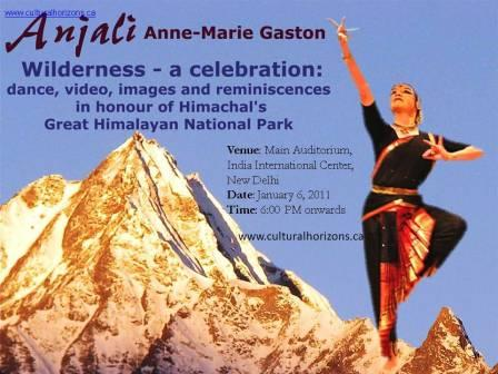 Anne-Marie Gaston presnted a dance and drama sequence at the India International Center, New Delhi. Such shows in India and Canada have raised awareness about the invaluable biodiversity of the Great Himalayan National Park.