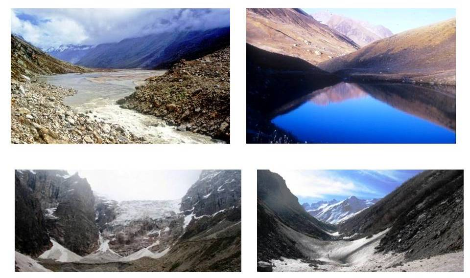 GHNP hydrology is distinctly marked by four major rivers that have origins in the Park: Top left: Man Talai, origin of Parvati river; Top right: Sartoo, origin of JiwaNal; Bottom left: Rakti Sar: origin of Sainj river; Bottom right: Tirath, origin of Tirthan river