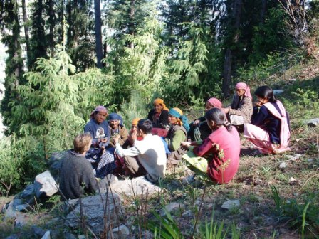 Members of a WSCG in a field meeting in a medicinal plants nursery in Sainj Valley of GHNP.