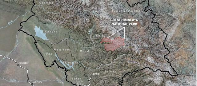 Location of GHNP in Himachal Pradesh
