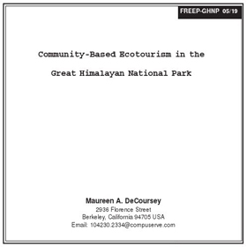 Research Community Based Ecotousim by DeCoursey