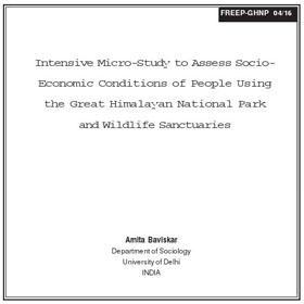 Research Intensive micro study of people by Baviskar