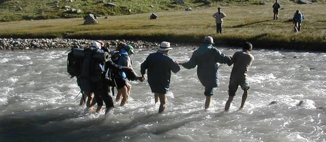 Crossing the Jiva Nal river