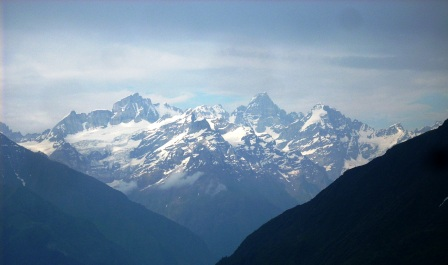 Grand view of Himalayas from the Dhel Meadow.