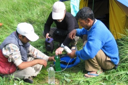 A high grade water filter is required during the treks.