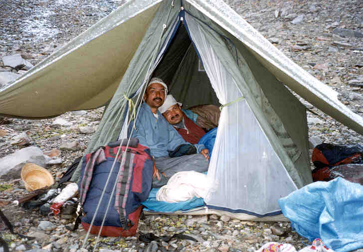 Dr G.S. Rawat and Sanjeeva Pandey sharing a tent at the base camp of Pin Parvati Pass.