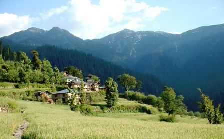 Ropa village in Tirthan Valley (demonstrates a subsistence econmy based on agriculture and forest produce).