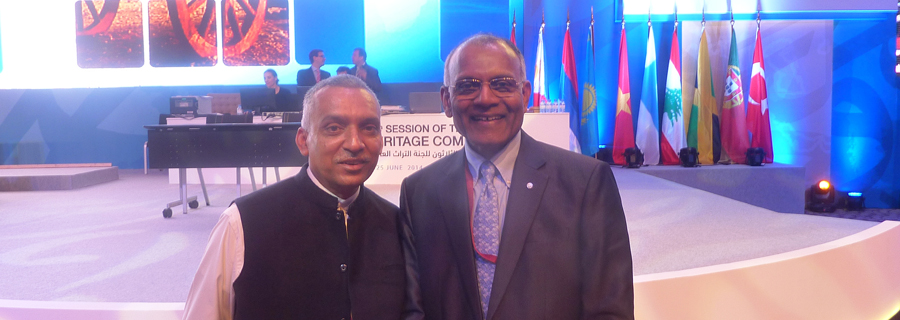 3.-Sanjeeva-Pnadey-Friend-of-GHNP-and-Mr-Kishore-Rao-Director-World-Heritage-Committee-UNESCO-at-Doha-after-GHNPCA-inscription-as-a-World-Heritage-Site